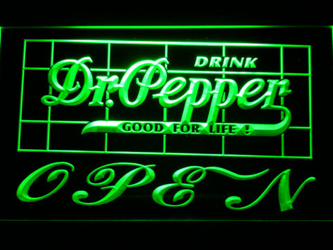Image of Dr Pepper Good For Life Open LED Neon Sign - Green - SafeSpecial