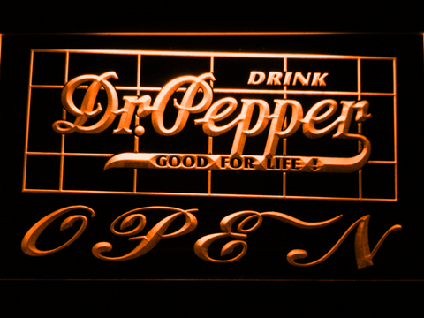Dr Pepper Good For Life Open LED Neon Sign - Orange - SafeSpecial