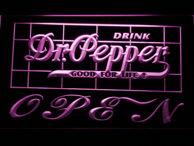 Dr Pepper Good For Life Open LED Neon Sign - Purple - SafeSpecial