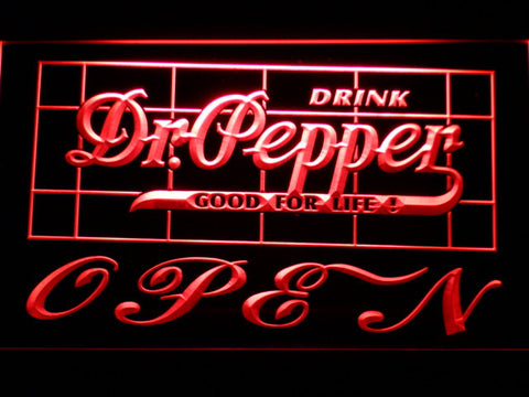 Image of Dr Pepper Good For Life Open LED Neon Sign - Red - SafeSpecial