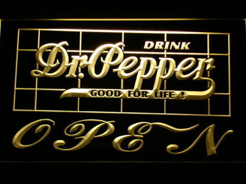 Image of Dr Pepper Good For Life Open LED Neon Sign - Yellow - SafeSpecial
