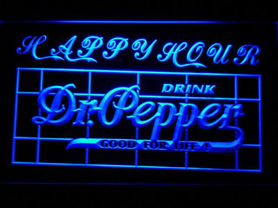 Dr Pepper Happy Hour LED Neon Sign - Blue - SafeSpecial