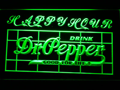 Dr Pepper Happy Hour LED Neon Sign - Green - SafeSpecial