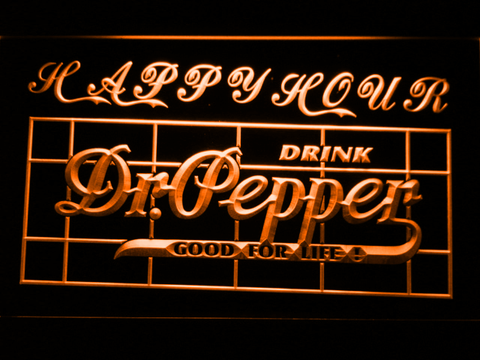 Image of Dr Pepper Happy Hour LED Neon Sign - Orange - SafeSpecial