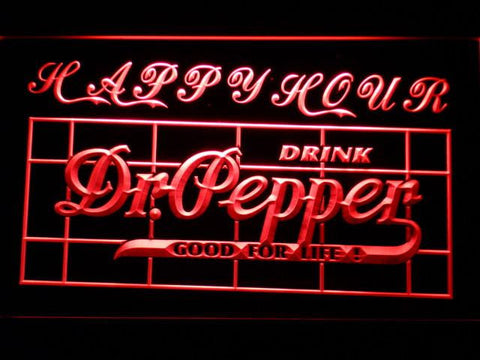Image of Dr Pepper Happy Hour LED Neon Sign - Red - SafeSpecial