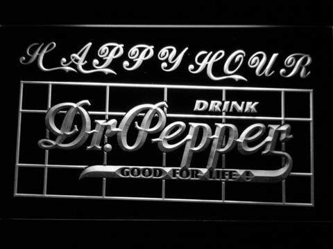Dr Pepper Happy Hour LED Neon Sign - White - SafeSpecial