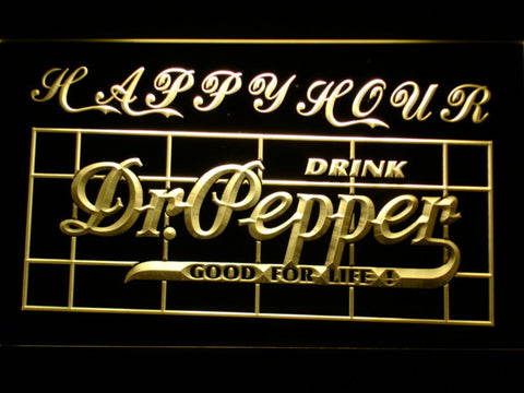 Dr Pepper Happy Hour LED Neon Sign - Yellow - SafeSpecial