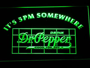 Dr Pepper It's 5pm Somewhere LED Neon Sign - Green - SafeSpecial