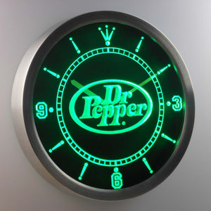 Dr Pepper LED Neon Wall Clock - Green - SafeSpecial