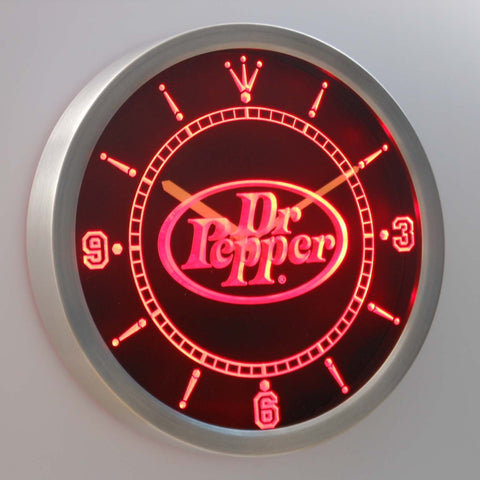 Dr Pepper LED Neon Wall Clock - Red - SafeSpecial