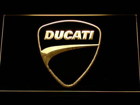 Ducati Badge LED Neon Sign - Yellow - SafeSpecial