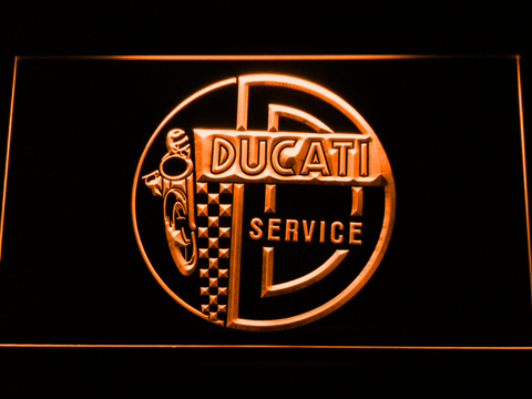 Image of Ducati Service Center LED Neon Sign - Orange - SafeSpecial