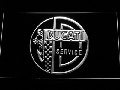 Ducati Service Center LED Neon Sign - White - SafeSpecial