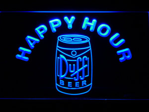 Duff Can Happy Hour LED Neon Sign - Blue - SafeSpecial
