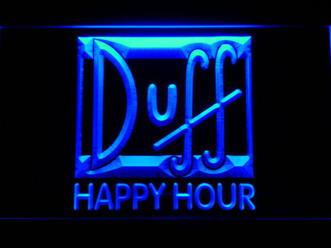 Image of Duff Happy Hour LED Neon Sign - Blue - SafeSpecial