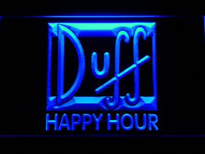 Duff Happy Hour LED Neon Sign - Blue - SafeSpecial