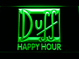 Duff Happy Hour LED Neon Sign - Green - SafeSpecial