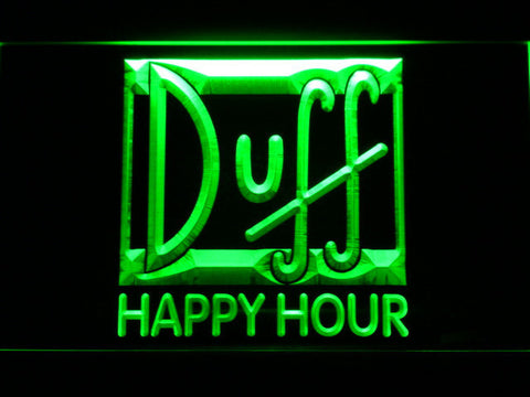 Image of Duff Happy Hour LED Neon Sign - Green - SafeSpecial