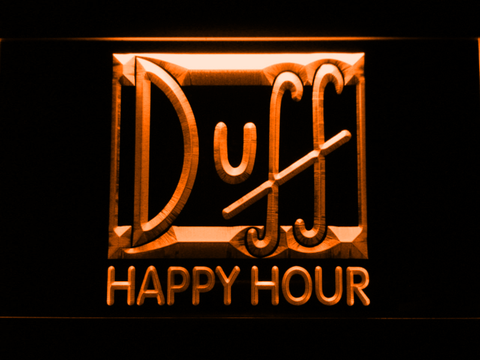 Image of Duff Happy Hour LED Neon Sign - Orange - SafeSpecial