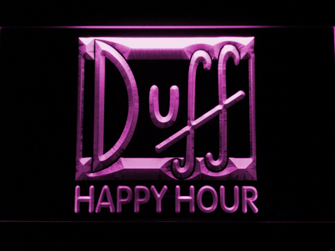 Image of Duff Happy Hour LED Neon Sign - Purple - SafeSpecial