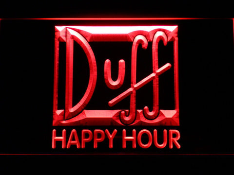 Image of Duff Happy Hour LED Neon Sign - Red - SafeSpecial