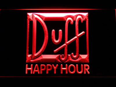 Duff Happy Hour LED Neon Sign - Red - SafeSpecial