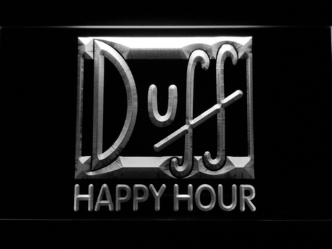 Image of Duff Happy Hour LED Neon Sign - White - SafeSpecial