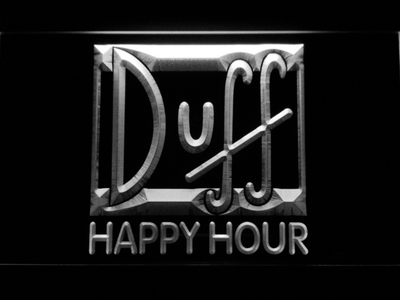 Duff Happy Hour LED Neon Sign - White - SafeSpecial