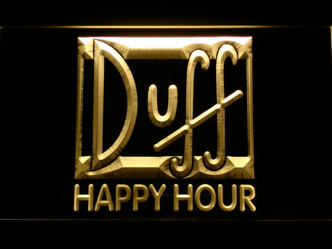 Image of Duff Happy Hour LED Neon Sign - Yellow - SafeSpecial