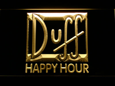 Duff Happy Hour LED Neon Sign - Yellow - SafeSpecial
