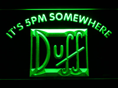 Duff It's 5pm Somewhere LED Neon Sign - Green - SafeSpecial