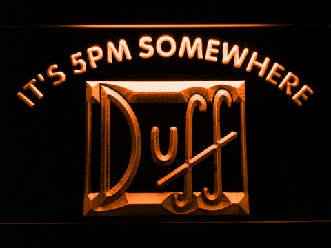 Duff It's 5pm Somewhere LED Neon Sign - Orange - SafeSpecial