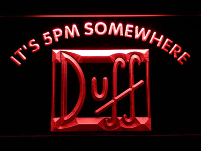 Duff It's 5pm Somewhere LED Neon Sign - Red - SafeSpecial