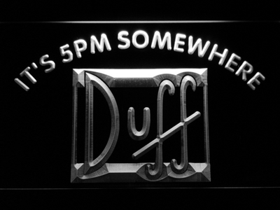 Duff It's 5pm Somewhere LED Neon Sign - White - SafeSpecial