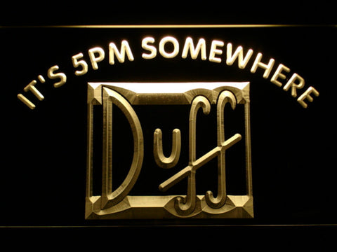 Duff It's 5pm Somewhere LED Neon Sign - Yellow - SafeSpecial