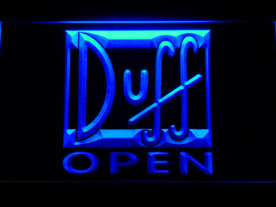 Duff Open LED Neon Sign - Blue - SafeSpecial