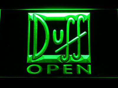 Duff Open LED Neon Sign - Green - SafeSpecial