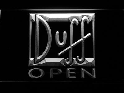 Duff Open LED Neon Sign - White - SafeSpecial