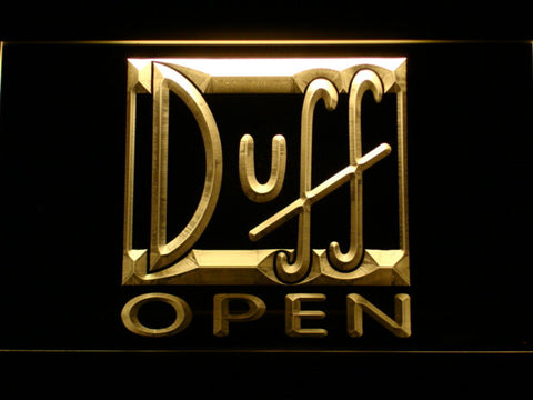Image of Duff Open LED Neon Sign - Yellow - SafeSpecial