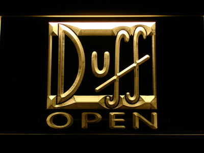 Duff Open LED Neon Sign - Yellow - SafeSpecial