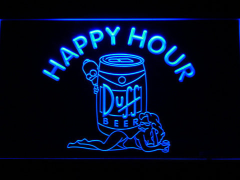 Image of Duff Simpsons Happy Hour LED Neon Sign - Blue - SafeSpecial