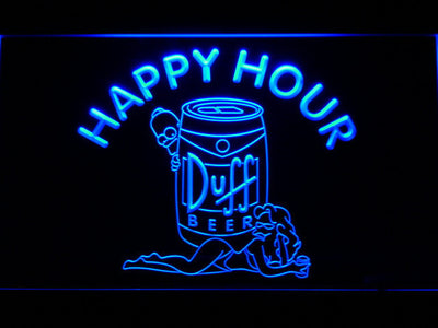 Duff Simpsons Happy Hour LED Neon Sign - Blue - SafeSpecial