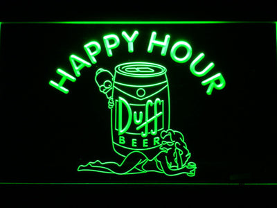 Duff Simpsons Happy Hour LED Neon Sign - Green - SafeSpecial
