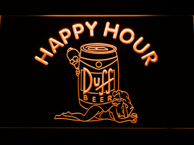Duff Simpsons Happy Hour LED Neon Sign - Orange - SafeSpecial