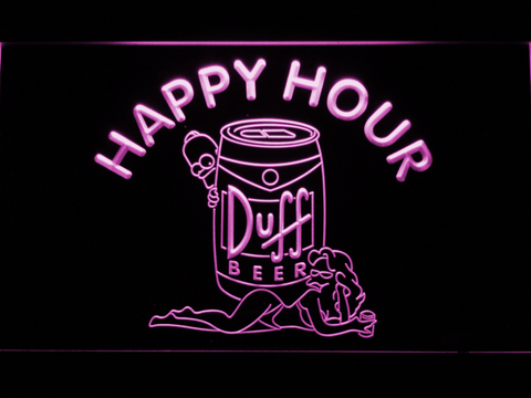 Image of Duff Simpsons Happy Hour LED Neon Sign - Purple - SafeSpecial