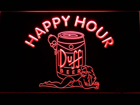 Image of Duff Simpsons Happy Hour LED Neon Sign - Red - SafeSpecial