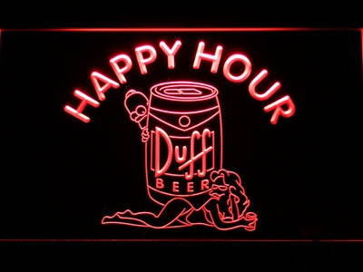 Duff Simpsons Happy Hour LED Neon Sign - Red - SafeSpecial
