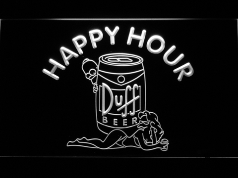 Image of Duff Simpsons Happy Hour LED Neon Sign - White - SafeSpecial