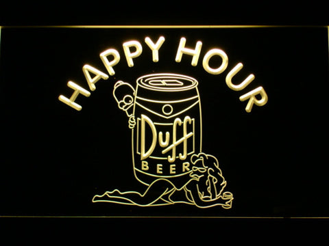 Image of Duff Simpsons Happy Hour LED Neon Sign - Yellow - SafeSpecial