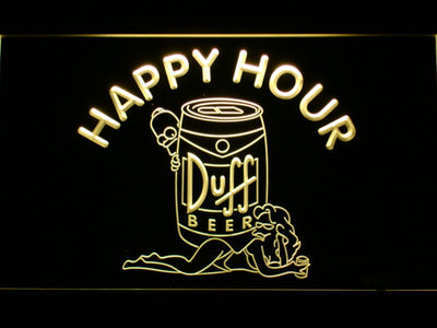 Duff Simpsons Happy Hour LED Neon Sign - Yellow - SafeSpecial